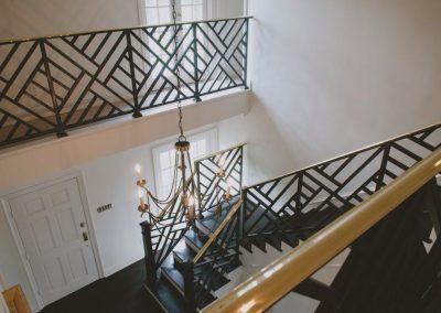 Geometric railing staircase