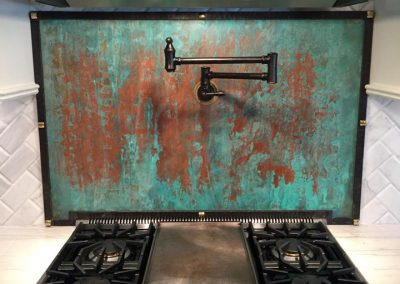 copper patina backsplash
